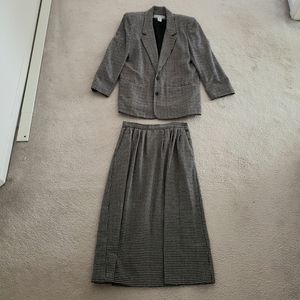Vintage Black and White Wool Skirt Suit